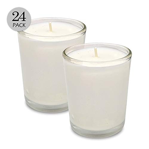 White Votive Candles - 24 Pack - Clear Glass Cups, Unscented, Extra Long 24 Hour Burn Time - for Party Decorations, Birthday, Wedding and Dinner Centerpieces - Hyoola