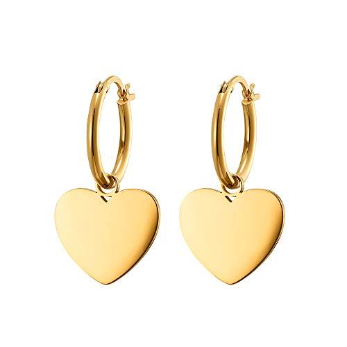 Heideman Ohrringe Damen aus Edelstahl gold farbend Ohrstecker hängend für Frauen mit Herz