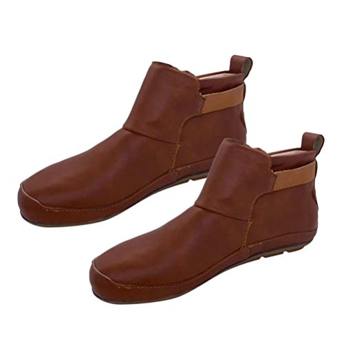 Holibanna Flat Leather Ankle Boots for Women Hook Loop Shoes Brown Short Booties for Ladies