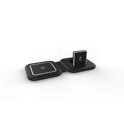 Adecuado para carga rápida inalámbrica iPhone 12 Pro Max iWatch, el nuevo cargador inalámbrico magnético dual plegable 2 en 1, soporte para teléfono de escritorio, compatible con QI