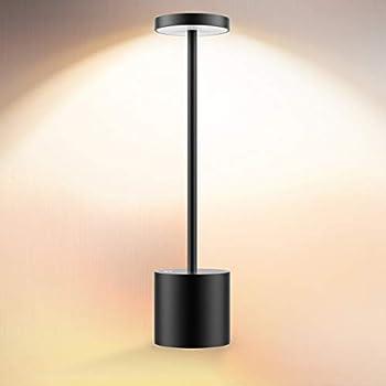 Cordless Table Lamp LED Metal USB Rechargeable 6000mAh 2-Levels Brightness Night Light Desk Lamp Reading Lamp for Restaurant/Bedroom/Dormitory