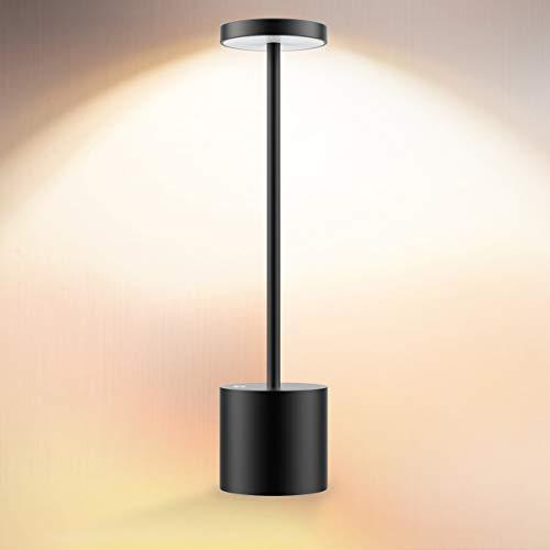Cordless Table Lamp, LED Metal USB Rechargeable 6000mAh 2-Levels Brightness Night Light Desk Lamp Reading Lamp for Restaurant/Bedroom/Dormitory