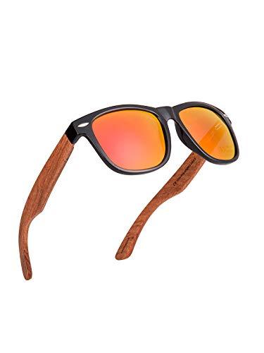 Kakacoo Holz Sonnenbrille, Polarisierte Sonnenbrille mit Holzbügeln für Herren Damen Unisex, UV 400-Schutz (Orange)