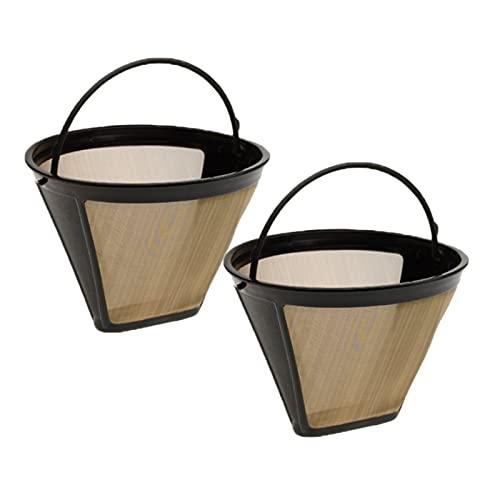 2 Stück Dauer-Kaffeefilter, Wiederverwendbar Dauerfilte, Goldener Edelstahlfilter, Wiederverwendbarer Filter, Wird zur Filtration von Kaffee und Tee Verwendet (Golden)