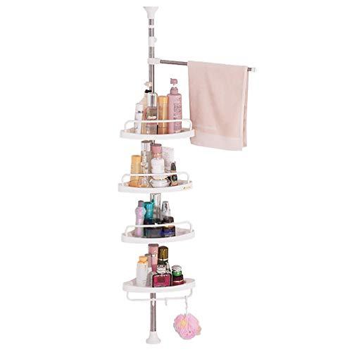 Hershii Duschregal mit 4 Etagen und Verstellbarer Stange aus Edelstahl, elfenbeinfarben, elfenbeinfarben, 4-Tier Shower Caddy with Towel Bar