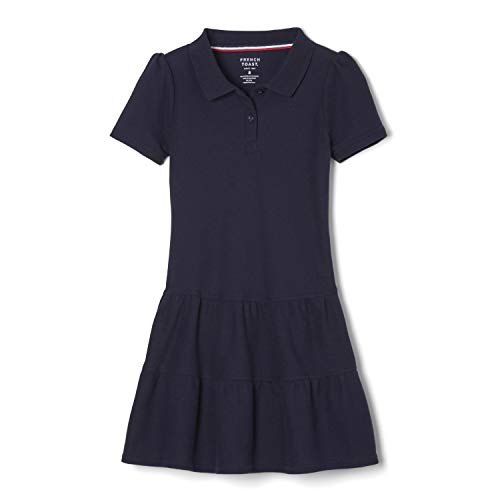 French Toast Girls' Ruffled Pique Polo Dress, Navy, Large/10/12,Big Girls