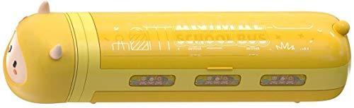 QIBIN Papelería Caja Amarillo Pequeño Estuche con Aspiradora Niños Lápiz Caja De Dibujos Animados Escuela Papelería Partes De Aspiradora