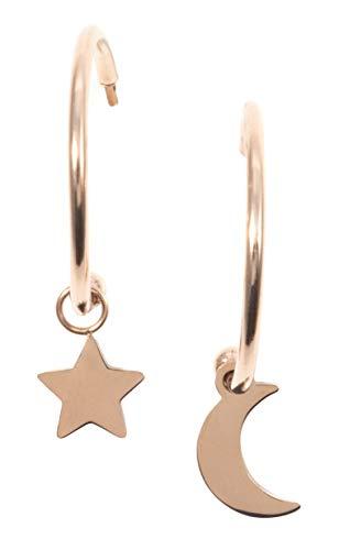 Happiness Boutique Damen Mond und Stern Creolen mit Anhängern in Rosegold | Kleine Runde Ohrringe Edelstahlschmuck