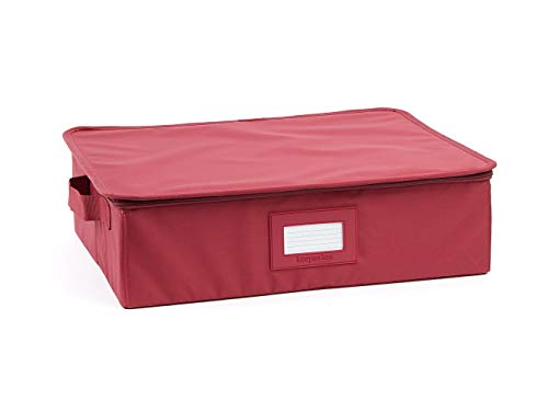 Covermates Keepsakes China Cups and Coffee Mugs Storage Box – Stackable Reinforced Handles China Storage - Scarlett Red