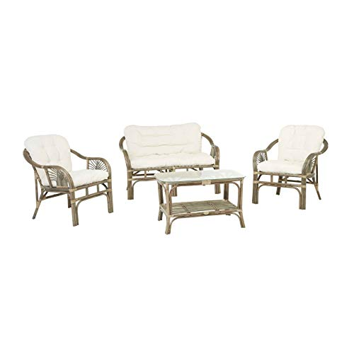 Rotin Design REBAJAS : -25% Salón de ratan Soller verde moderno: 1 sofá, 2 sillonesy 1 mesa