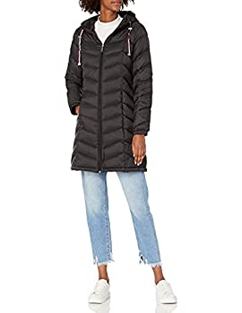 Tommy Hilfiger Women s Mid Length Chevron Quilted Packable Down Jacket Black Medium