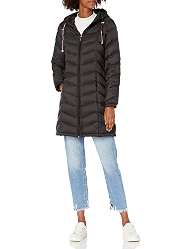 Tommy Hilfiger Women's Mid Length Chevron Quilted Packable Down Jacket, Black, Medium