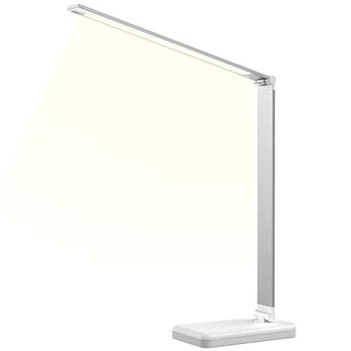 デスクライトLED電気スタンド卓上ライト目に優しい省エネテーブルタッチセンサー調光 コンセント (シルバー)