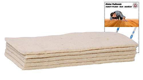 Soft-Sheep- 5x Schafwollpad Polierpads - Parkett Nachölen - Bodenbeläge einpflegen mit Parkett Pflegeöl und polieren