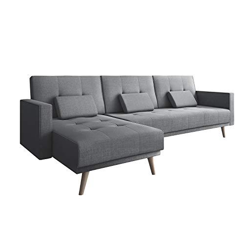Comfort Products SelectionHome - Sofa Chaise Longue, SofaCama, Reversible, Modelo Verona, Acabado en Gris Claro, Medidas: 267 cm (Ancho) x 137 cm (Fondo) x 88 cm (Alto)