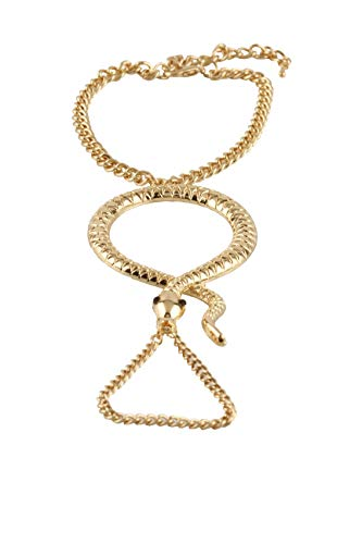 Gold Snake Adjustable Finger Ring and Slave Hand Chain Bracelet