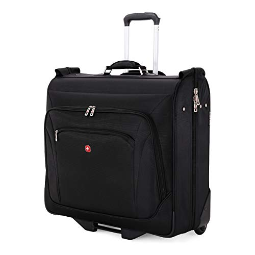 SWISSGEAR Full-Sized Effortless Folding Wheeled Garment Bag | Rolling Travel Luggage | Men's and Women's - Black