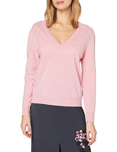 GANT Damen Superfine Lambswool V-Neck Pullover, Preppy PINK, M