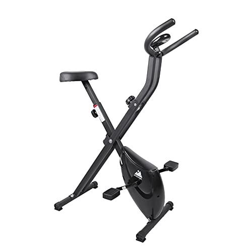 Bicicleta Estática Plegable EVOLAND, Bicicleta Estática con 8 Niveles de Resistencia, Asiento Ajustable, Pantalla LCD, Bicicleta Interior de Entrenamiento Cardiovascular para Adultos (Negro)