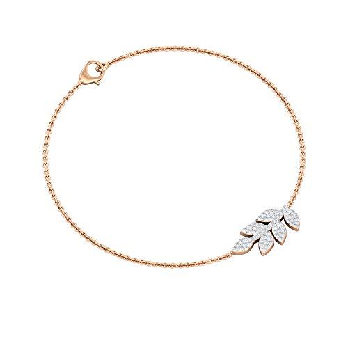 1/3 CT Diamond Bracelet Womens, Gold Petal Charm Bracelet, Diamond Cluster Charm Bracelet, Wedding Bridesmaid Gold Bracelet, Girl Adjustable Bracelets, 18K Rose Gold 6 Inches