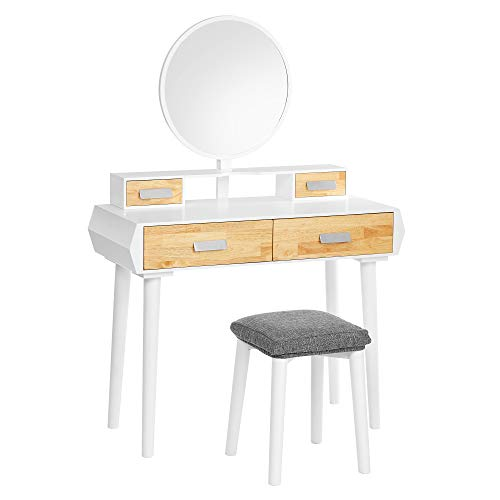 VASAGLE Vanity Set, Dressing Table with Round Mirror, Cushioned Stool, Mid-Century Modern Makeup Table with 4 Drawers, Gift Idea, White and Natural Color URDT150W01
