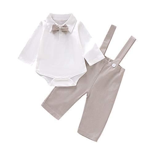 Tianhaik Baby Jongens Gentleman Lange Mouw Wit Romper met Tuxedo Bowtie+Suspender Broek Pasgeboren Jumpsuit Outfits