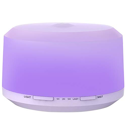 450ML Essential Oil Diffuser with 8 LED Color Changing Lamps, ZOOKKI Aromatherapy Diffuser for Essential Oils with 4 Timer Settings and Waterless Auto Shut-off Feature for Large Room