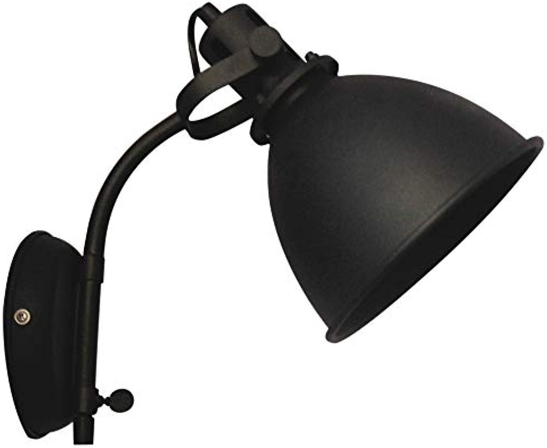 Brilliant Jesper Wandspot mit Zuleitung und Schalter Wandstrahler schwenkbar schwarz korund Industrial Look, 1x E27 geeignet für Normallampen bis max. 40W