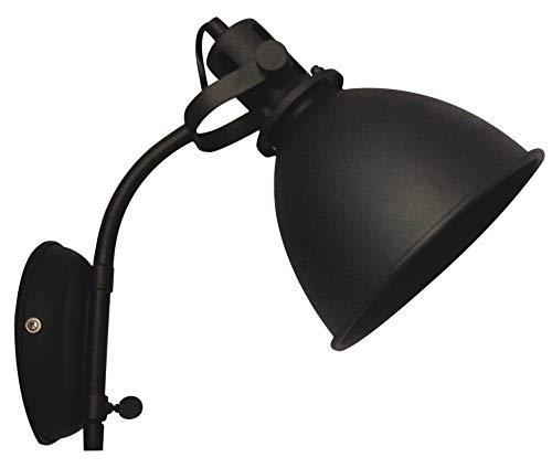 Brilliant Jesper wandspot met snoer en schakelaar wandspot draaibaar zwart korund industriële look, 1 x E27 geschikt voor normale lampen tot maximaal 40 W.