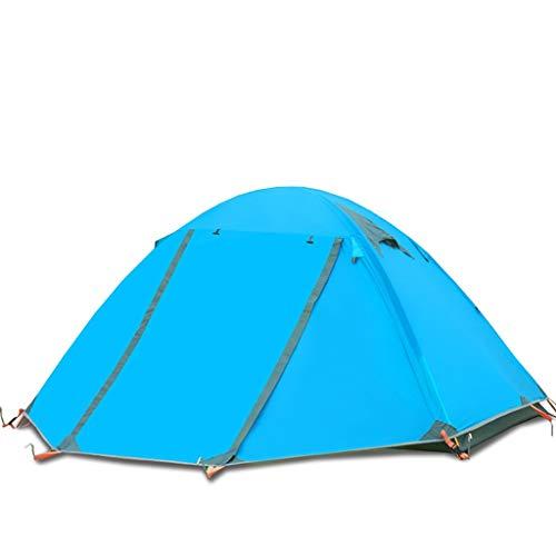 LTT Campingzelt Outdoor Zweischichtiger Aluminiumpfosten Wildes wasserdichtes Sturmzelt (Farbe : Blau)