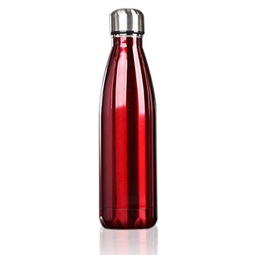 N\C Botella de agua de acero inoxidable, sin BPA, aislada al vacío, de metal, ideal para el trabajo, gimnasio, viajes, 500 ml