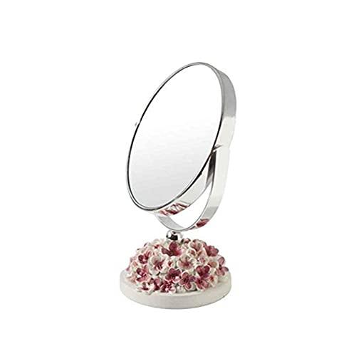 LYQQQQ Espejo de Maquillaje de Doble Cara/Espejo de tocador portátil, diseño de rotación de 360 Grados, 3 Colores (Color : Pink)