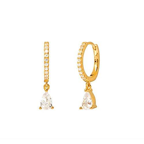 Pendientes Mujer Pendientes De Aro De Plata De Ley 925 para Mujer Pendientes De Circonita De Cristal Negro Joyería De Moda -Gold_White
