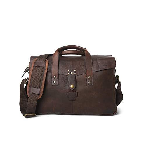 Genuine Full Grain Cow Leather Briefcase for Men | Walker By Buffalo Jackson | Vintage Oak