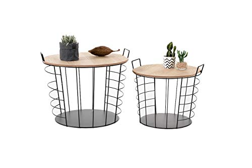 LIFA LIVING Nest of 2 Tables with Storage Box, Wooden Removable Top & Metal Handles, Black Wire Round Side Coffee End Tables, for Living Room, Kitchen