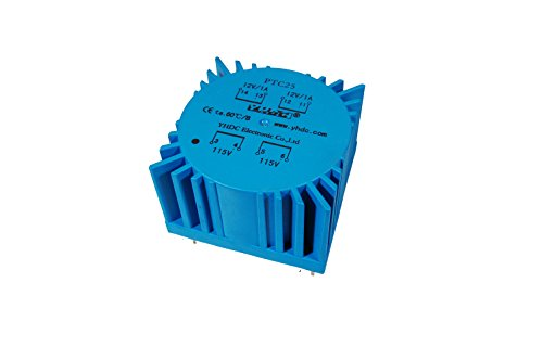 YHDC Transformador TOROIDAL PTC25 25VA Entrada: 115Vx2 Salida: 12Vx2