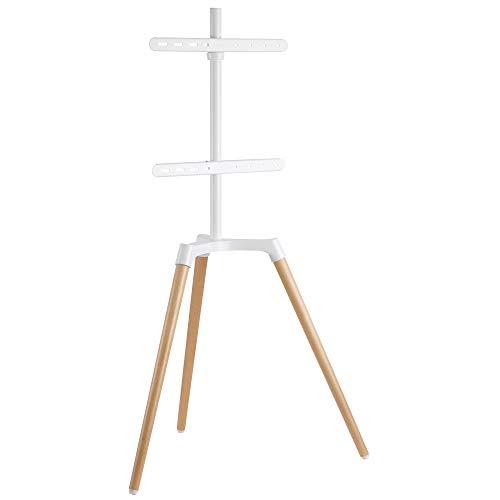 EasyLife - Design STAFFELEI Tripod TV-Stativ - Halterung bis 65'' Zoll & 35 kg Fernseher o. Monitor - 140° Schwenkbar - Höhenverstellbar + Kabelmanagement - VESA bis 400x400 (Weiß/Buche hell)