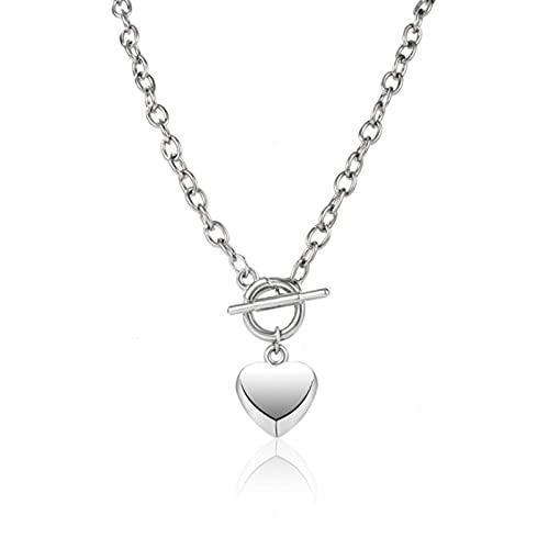 Collar de Gargantilla con Colgante de corazón de Amor Simple a la Moda para Mujer, Cadena de clavícula de Color Plateado, joyería de Fiesta Femenina en el Cuello