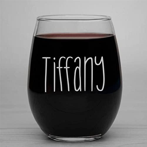 Copas de vino con monograma para boda, dama de honor con nombre, divertida copa de vino sin tallo, grabado con láser para whisky, vaso de chupito, idea única para él, ella, 15 onzas bf217