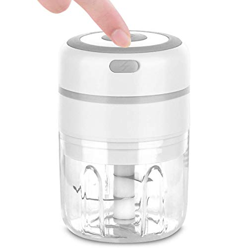 Mini Food Processor, 250ML Capacity Electric Food Chopper, USB Charging Portable Wireless Food Blender Crusher for Vegetable Fruit Meat Garlic Onion Ginger - Perfect for Baby Food Salad (White)