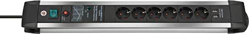 Brennenstuhl Premium-Protect-Line Steckdosenleiste 6-fach mit Schalter und Überspannungsschutz (Steckerleiste mit 3m Kabel, 2-fach USB 3,1 A, Made in Germany) silber/schwarz