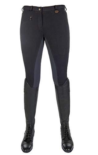 HKM Vollbesatz Reithose Wülfer X mit elastischen Beinabschluss für Damen, schwarz mit gauen Besatz, Größe: 36