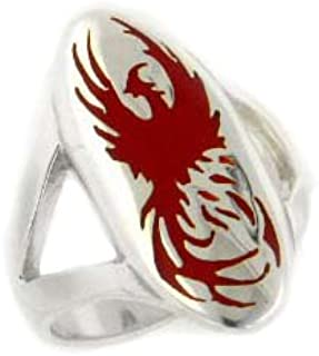 Mythical Red Firebird Phoenix Rising from The Ashes Sterling Silver Ring(Sizes 4,5,6,7,8,9,10,11,12,13,14,15)