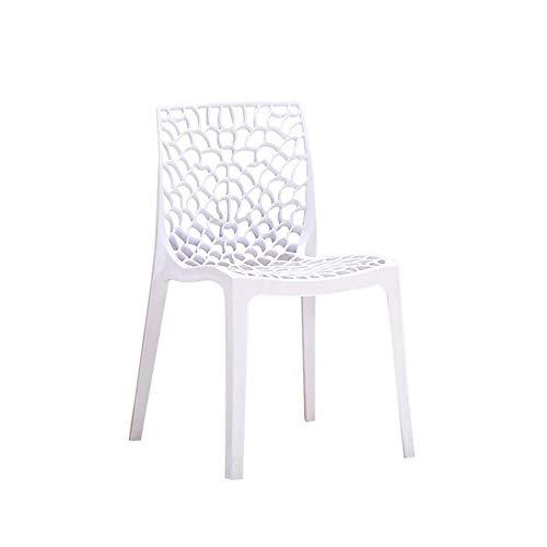 JISHIYU-Q Silla de Comedor Silla Alta Taburete con Respaldo plástico Creativo del Bar Silla Moderna Minimalista Blanco de la Manera Perezosa