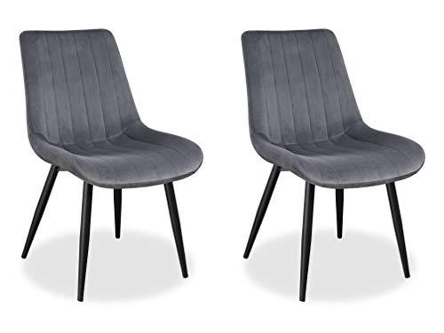 Loui Design Esszimmerstuhl mit schwarzen Beinen, Samt Bezug gepolstert, weiches Sitzkissen | Grau | 2 STK.
