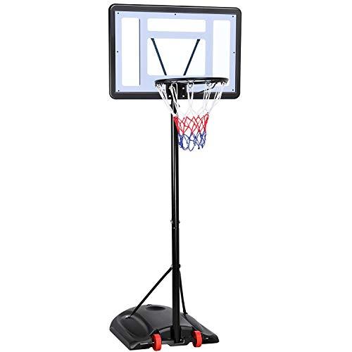 Yaheetech Canasta de Baloncesto Exterior con Pie Altura Ajustable 219-279 cm Tableros Portátiles de Baloncesto con Ruedas para Adultos