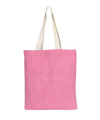 Eono Taschen-Einkaufstaschen Umweltfreundlich recycelter Baumwolle Stoff Handtasche Grocery Schulter Plain Leinwand-Tasche für Frauen, Männer, Mädchen - Rosa   0407