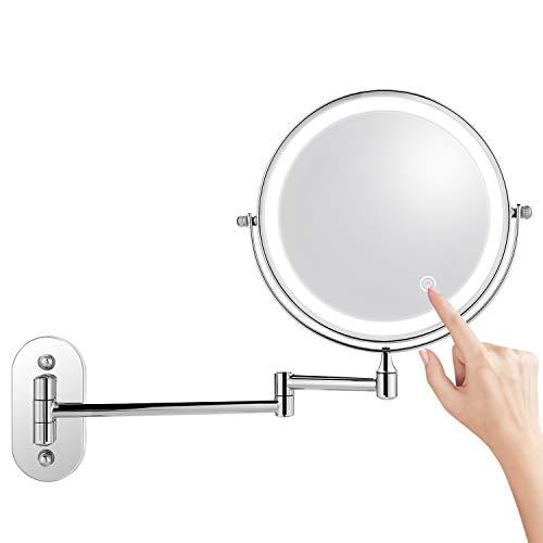 Himimi Kosmetikspiegel LED Beleuchtet mit 1x/ 7xFach Vergrößerung Schminkspiegel, wandmontage Kosmetikspiegel mit Touch Button Einstellbar Licht, 360° Schwenkbar und Vertikal