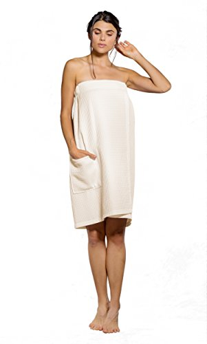 Turquaz Linen Lightweight Knee Length Spa/Bath Waffle Body Wrap with Adjustable Touch Fastener