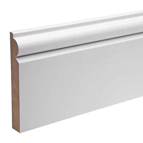 MDF Skirting Board 5 Pack Torus / Ogee Design White Pre Primed 119 Millimetre x 4200 Millimetre...
